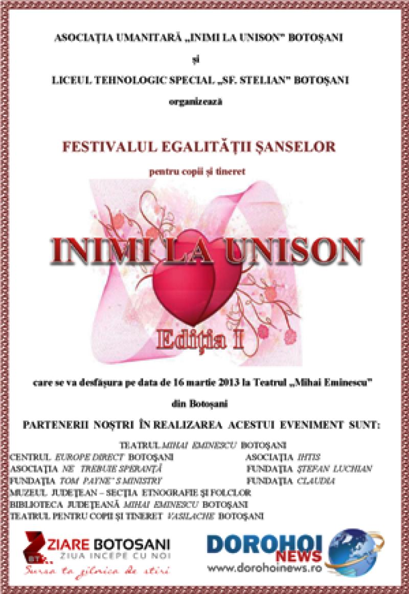 FESTIVALUL EGALITĂȚII ȘANSELOR pentru copii și tineret INIMI LA UNISON, edița I