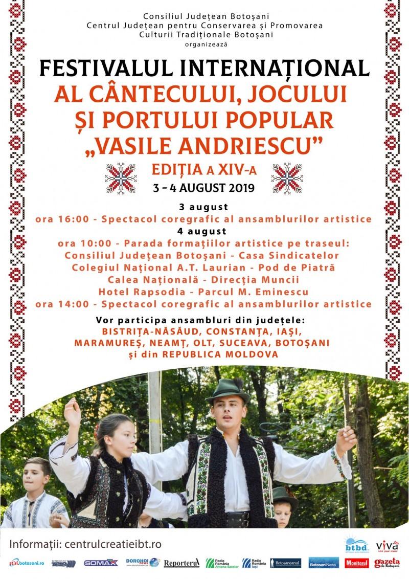 """Festivalul Internaţional al Cântecului, Jocului şi Portului Popular """"Vasile Andriescu"""" Festivalul Fanfarelor"""