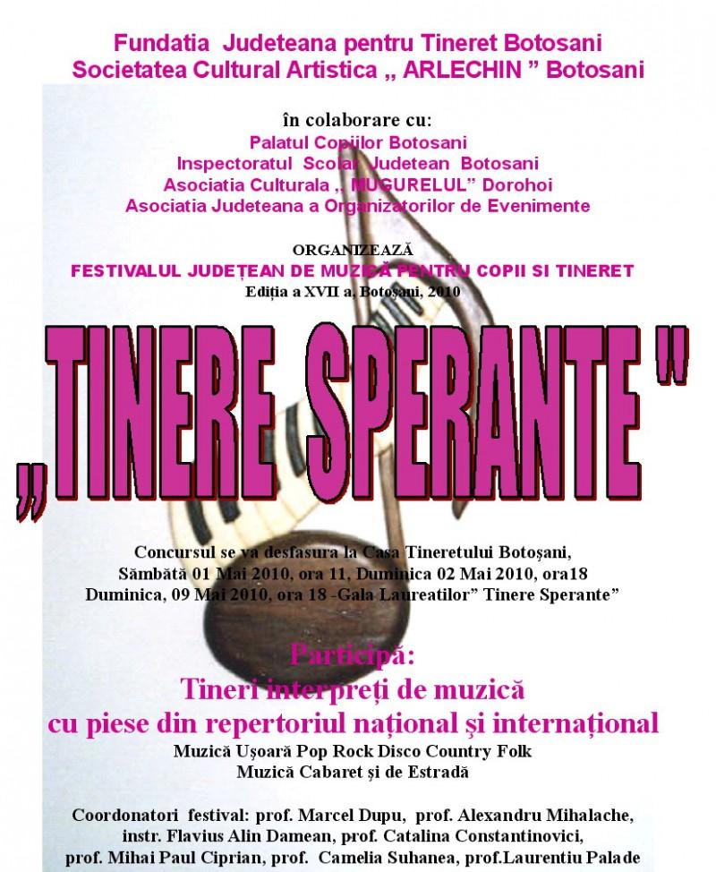 """Festivalul Judetean de Muzica pentru Copii si Tineret """"Tinere Speranţe"""", editia a XVII-a"""
