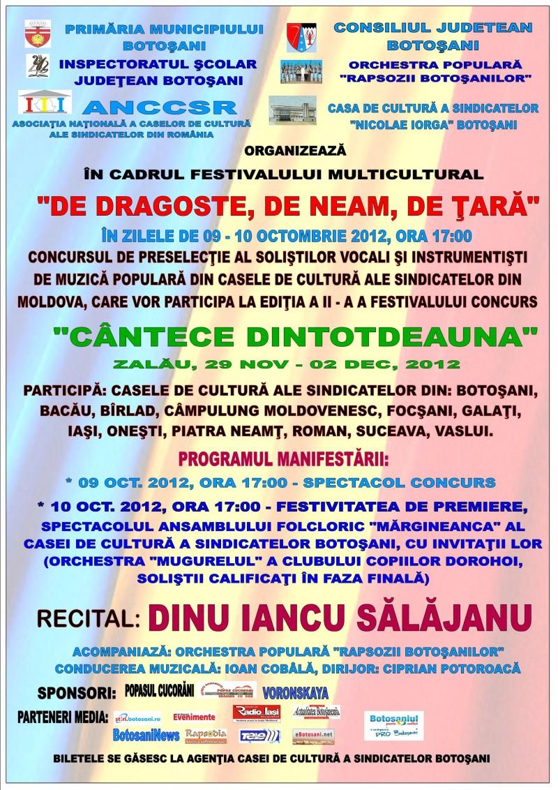 """Festivalul National de folclor """"Cantece dintotdeauna"""", invitat de onoare, Dinu Iancu Salajanu"""