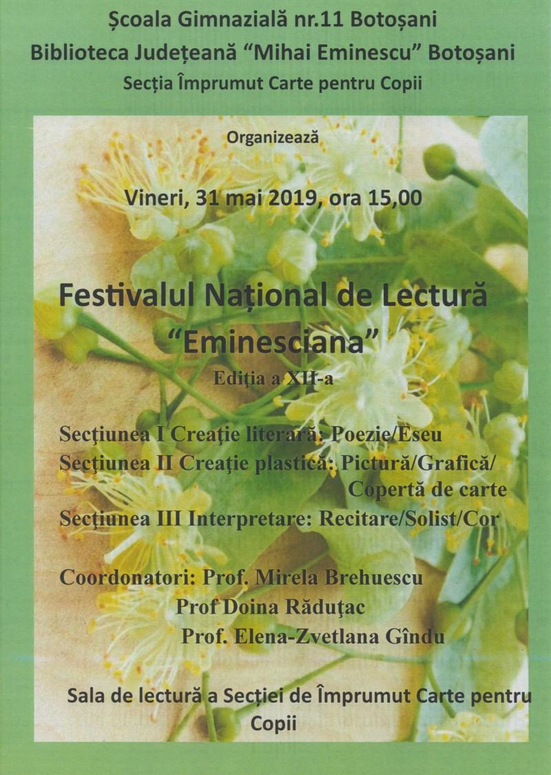 """Festivalul """"Eminesciana"""" a ajuns la ediția a XII-a"""