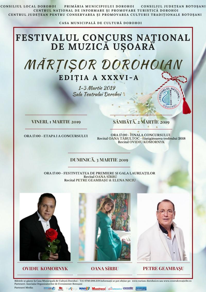"""Festivalul """"Mărţişor Dorohoian"""" cu Oana Sârbu, Ovidiu Komornik și Petre Geambaşu!"""