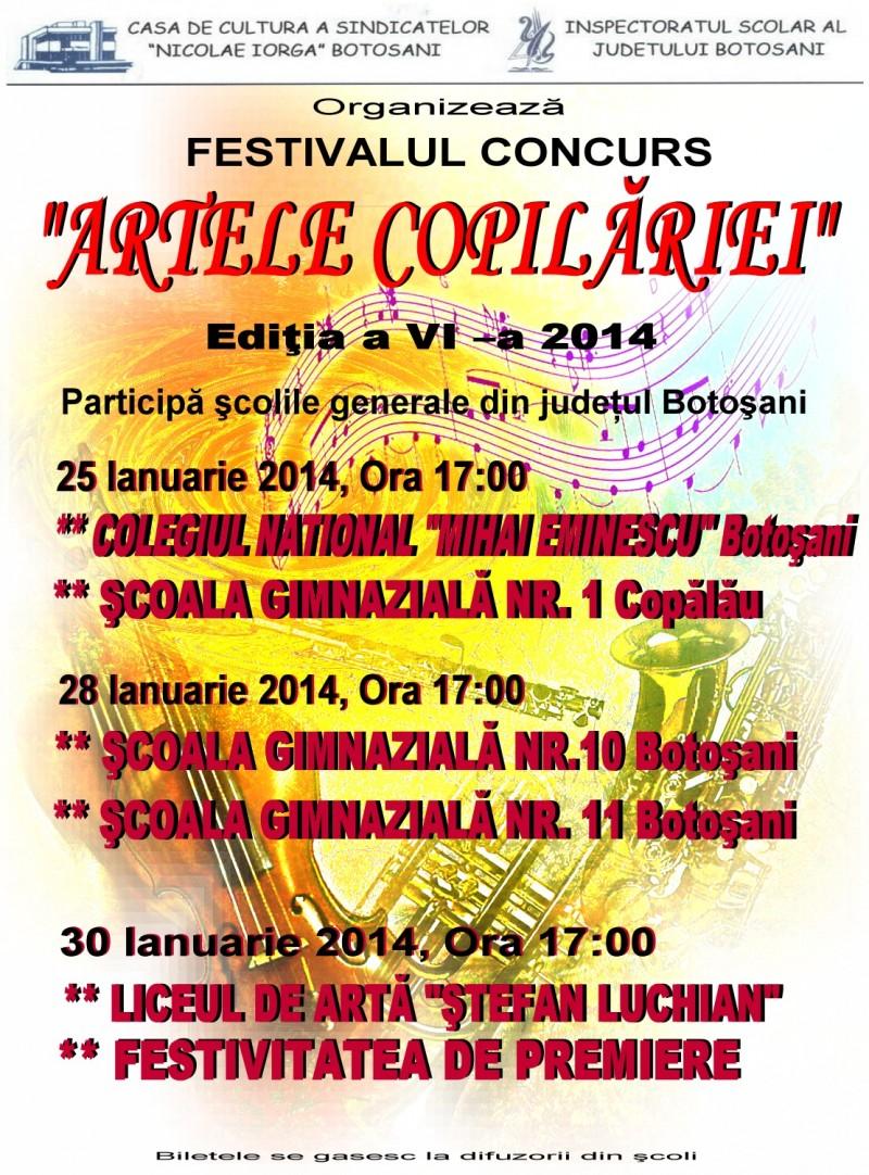 """Festivalului Concurs """"Artele Copilariei"""", editia a VI-a, la Botosani"""