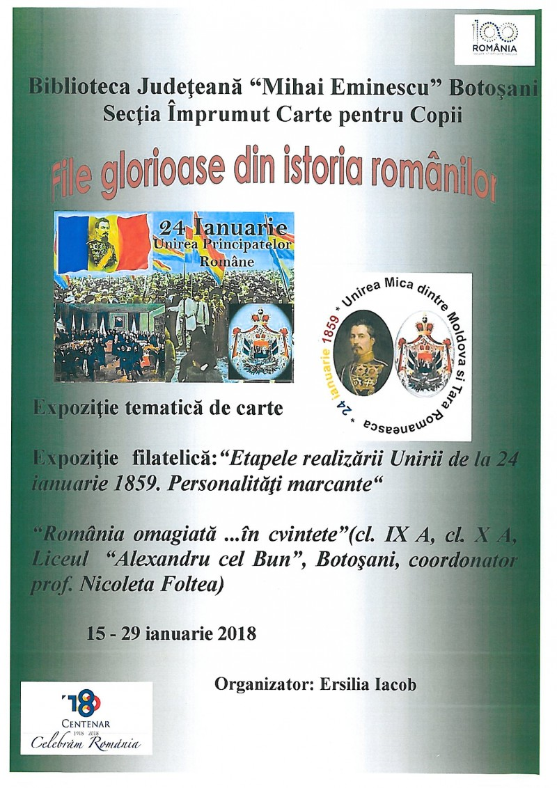 File glorioase din istoria românilor, la Biblioteca Județeană