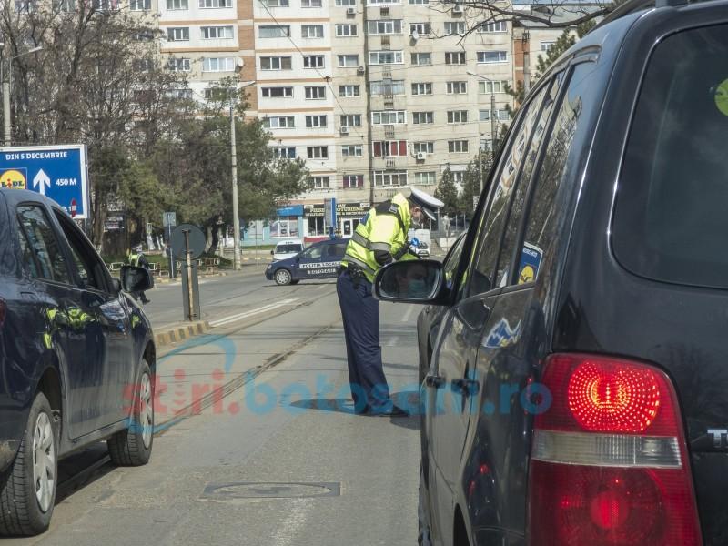 Filtre ale polițiștilor în Botoșani, pentru verificarea documentelor justificative pentru circulație