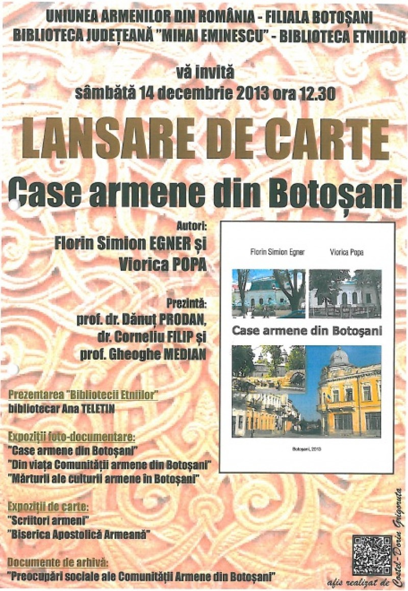 "Florin Egner si Viorica Popa vor lansa cartea ""Case armene din Botoșani"""