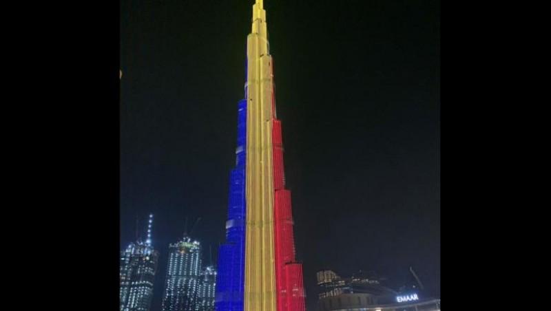 """FOTO&VIDEO: Ziua Națională, sărbătorită în Dubai. Cea mai înaltă clădire din lume, """"îmbrăcată"""" în tricolor"""