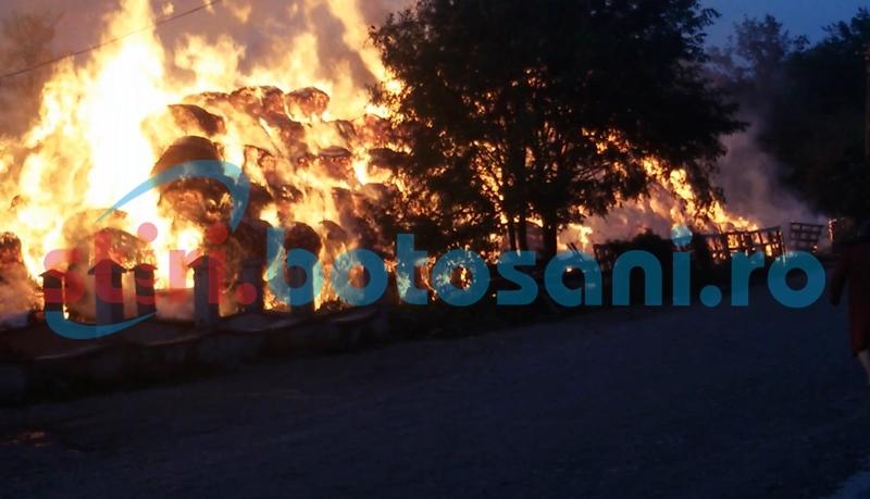 Furaje incendiate la Nicşeni şi Hudum