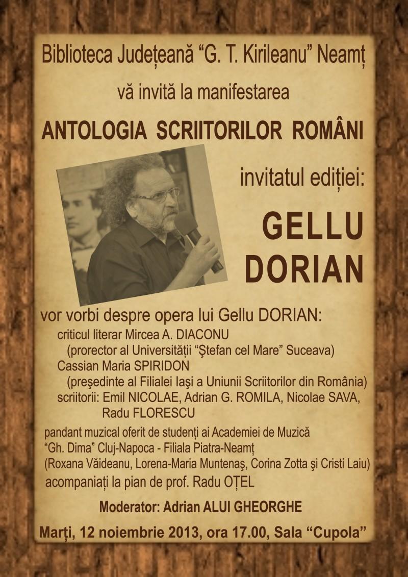 """Gellu Dorian, invitatul """"Antologiei scriitorilor români"""", la Piatra Neamț!"""