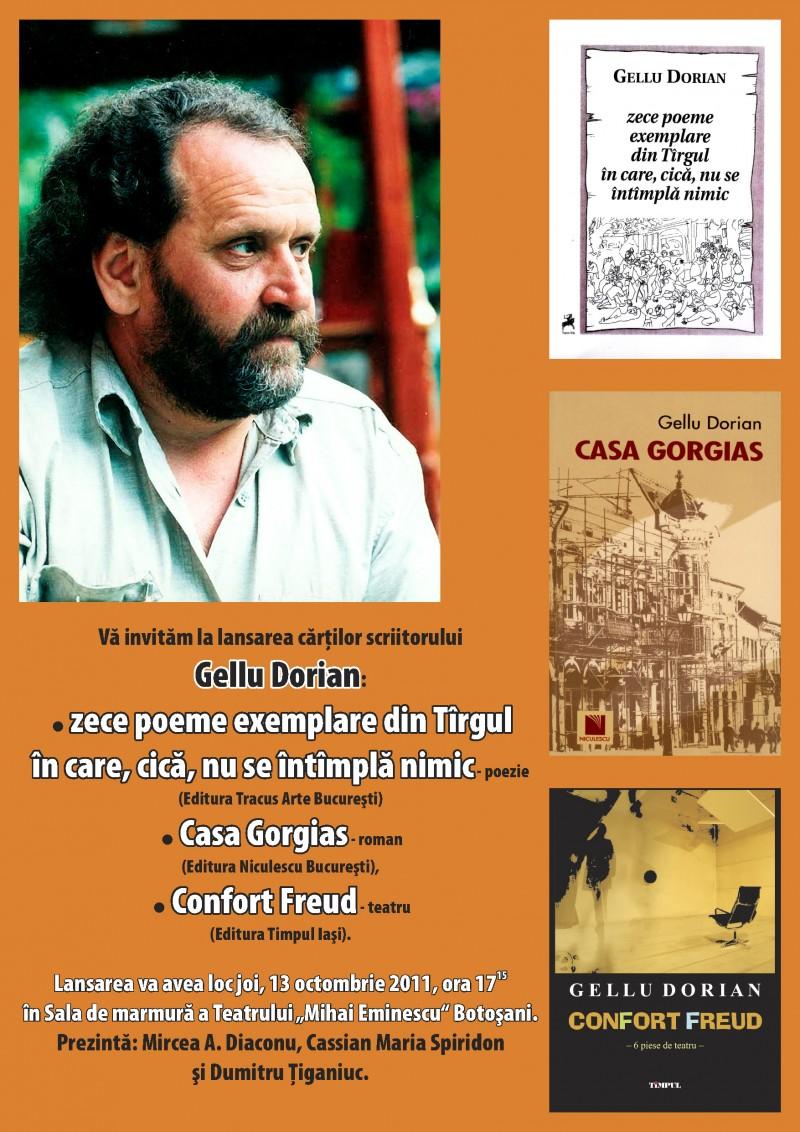 Gellu Dorian: O mărturisire, trei cărţi şi o premieră teatrală!