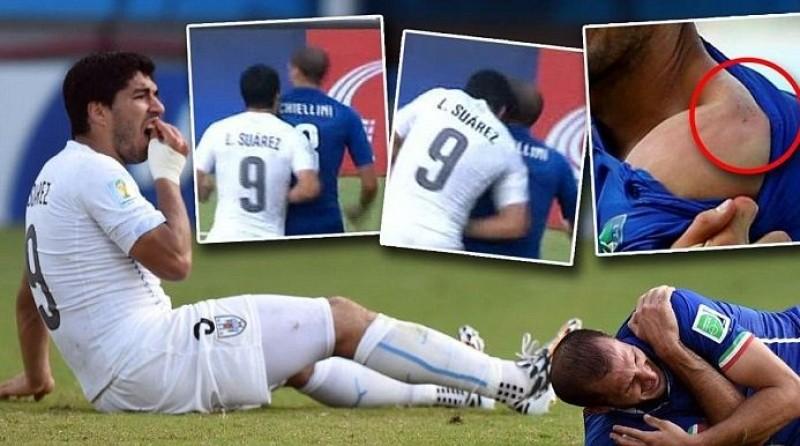 Gest SOCANT! Uruguayanul Suarez l-a muscat pe italianul Chiellini de umar! Nu este prima victima a atacantului! VIDEO