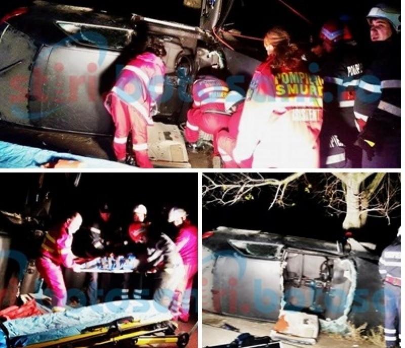 Grav accident la Cucorăni! Doi tineri încarcerați, după ce s-au răsturnat cu mașina! FOTO