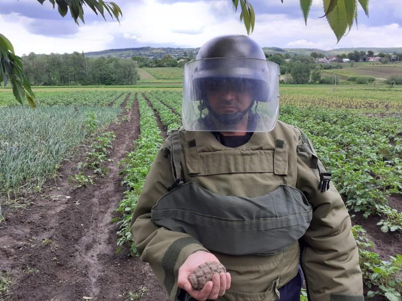 Grenadă de mână defensivă cu focosul secționat, descoperită în gospodăria unui localnic din comuna Vorona
