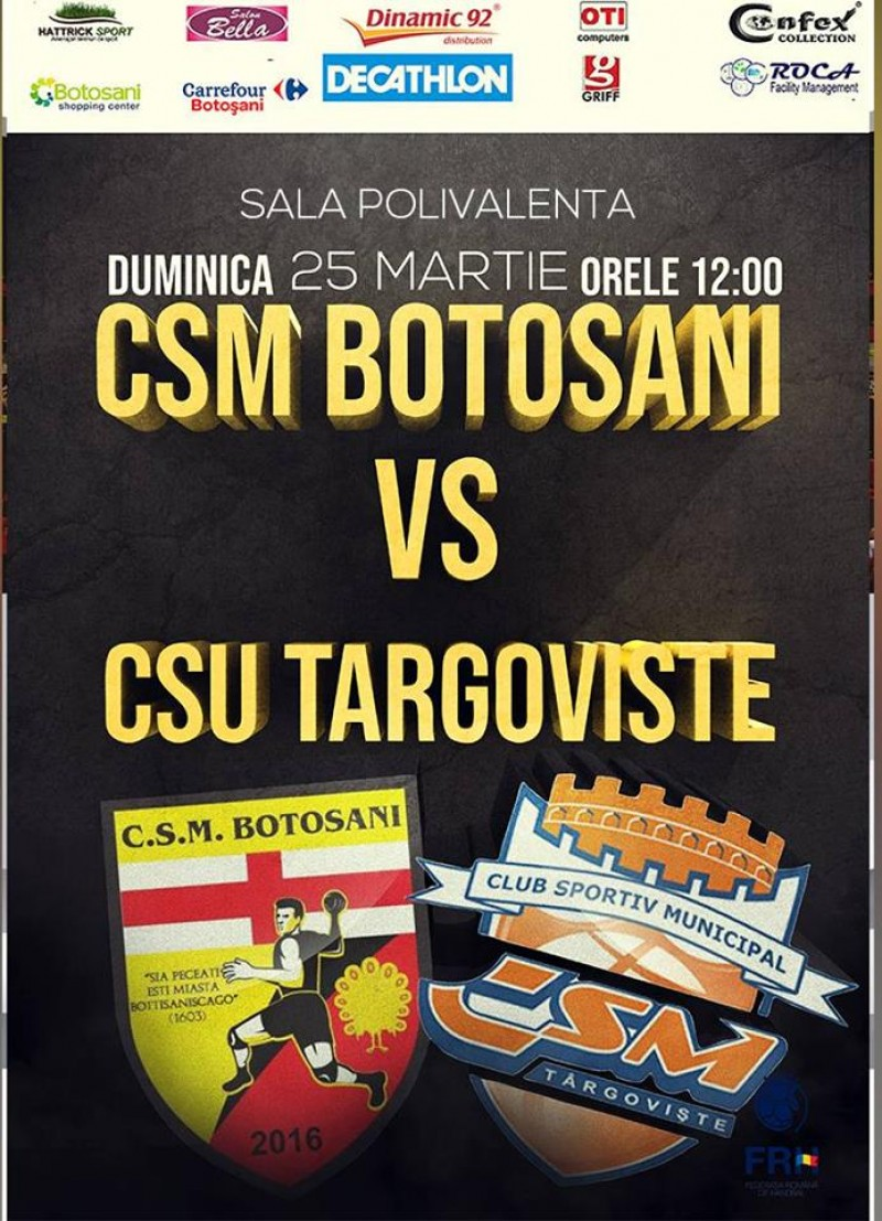 Handbal de divizia A la Polivalentă: CSM Botoșani-CSU Târgoviște