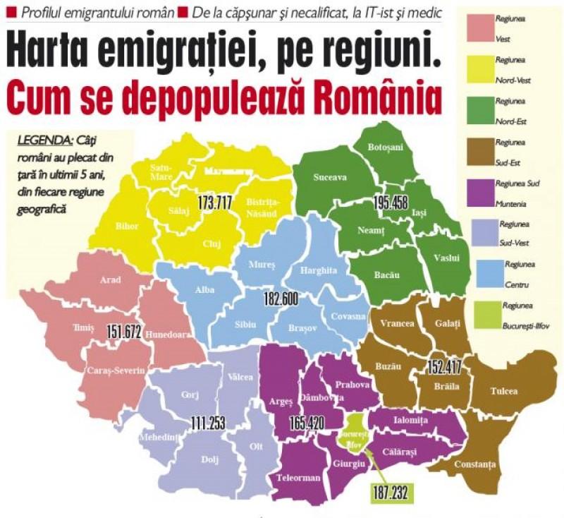 Harta Emigraţiei Pe Regiuni Cum Se Depopulează Romania știri