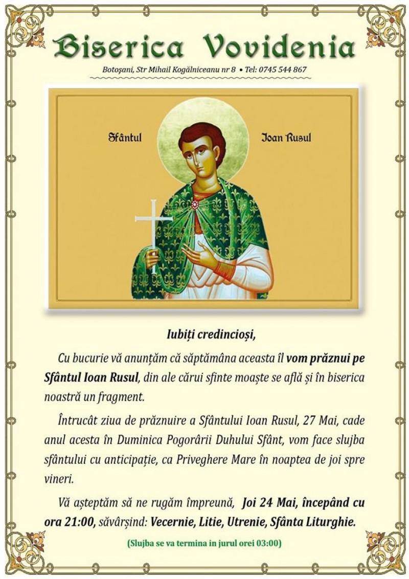 În această noapte, Priveghere Mare la Biserica Vovidenia din Botoșani!