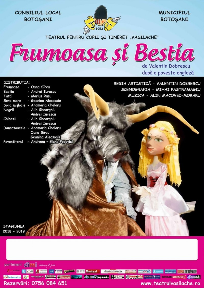 """În acest weekend: """"Frumoasa și bestia"""", pe scena Teatrului pentru Copii"""