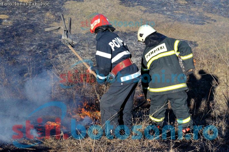 Câmpuri pârjolite de foc: Au intervenit zeci de pompieri şi poliţişti de frontieră!