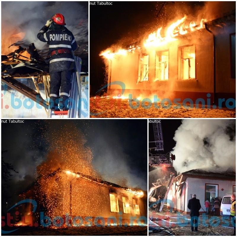 Incendiu de PROPORȚII! Școala din Răchiți, distrusă de flăcări! FOTO, VIDEO