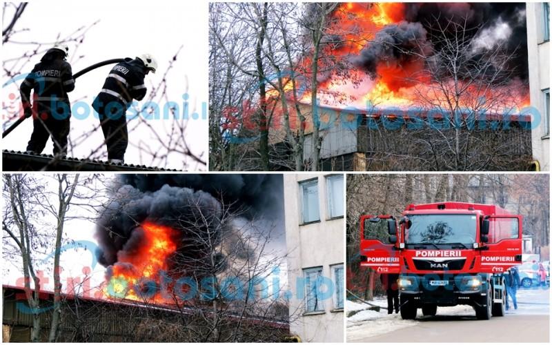 Incendiu DEVASTATOR la o fabrică din municipiul Botoșani! Pompierii au luptat cu flăcări URIAȘE! FOTO, VIDEO