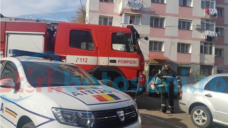 Incendiu într-un apartament din municipiul Botoşani. Pompierii, solicitaţi la faţa locului