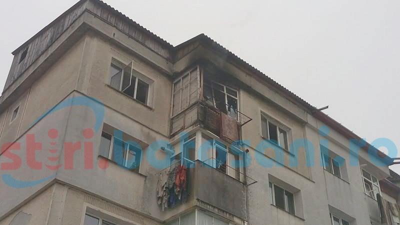 Incendiu puternic într-un apartament din Botoșani! O femeie a fost rănită! FOTO