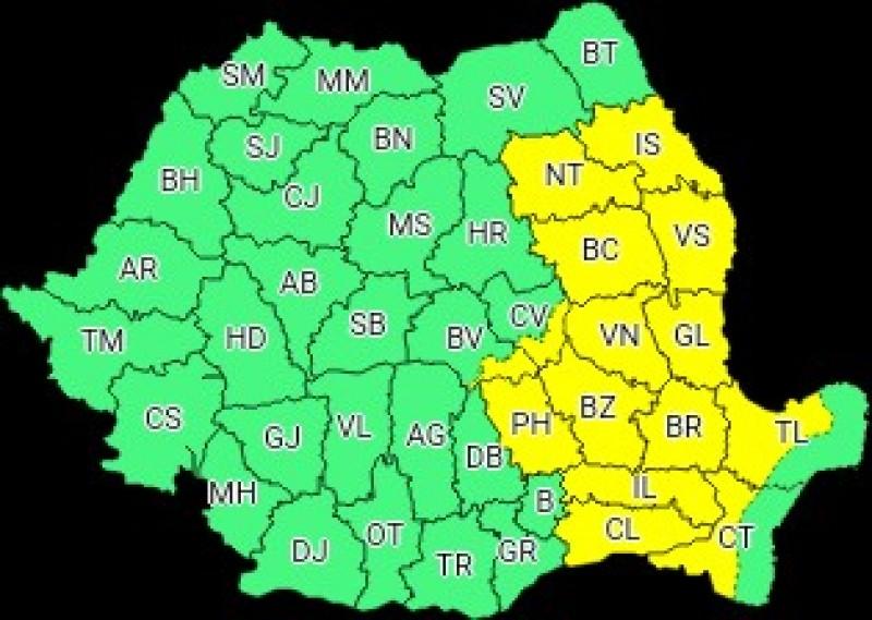 Începând de joi, județul Botoșani iese de sub atenționarea meteorologică Cod Galben