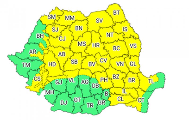Instabilitate atmosferică accentuată în toată ţara. Județul Botoșani sub COD GALBEN de grindină, vijelii şi averse torenţiale!