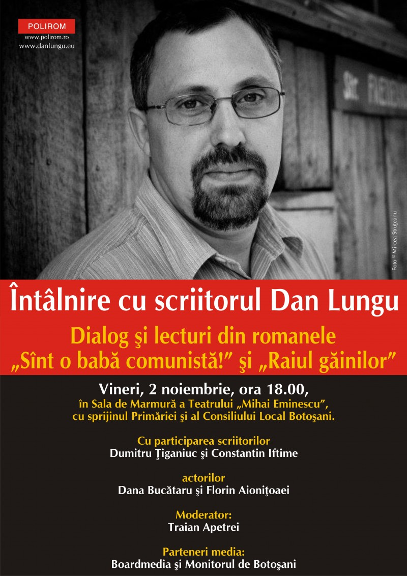 Intalnire cu scriitorul Dan Lungu la Botosani