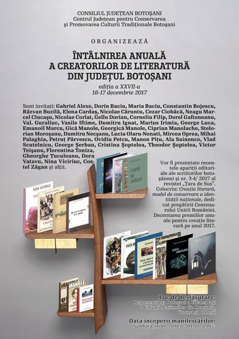 Întâlnirea anuală a creatorilor de literatură din județul Botoșani, ediția a XXVII-a