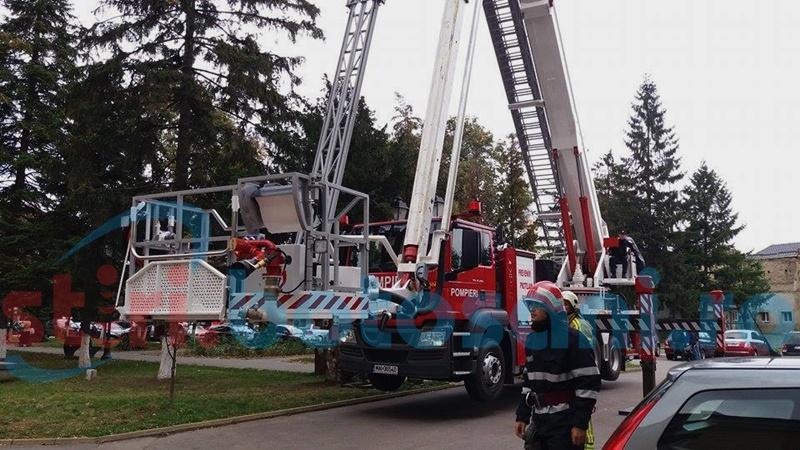 Intervenție a pompierilor la Primăria Botoșani-FOTO