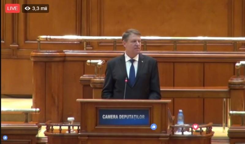 Iohannis în Parlament: Grija primă a fost să vă ocupaţi de dosarele penalilor. Parlamentarii PSD părăsesc sala. Şeful statului: Aţi obosit deja? Ghinion!