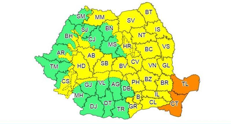 Județul Botoșani, sub incidența Codului Galben de ploi torențiale și vijelii!