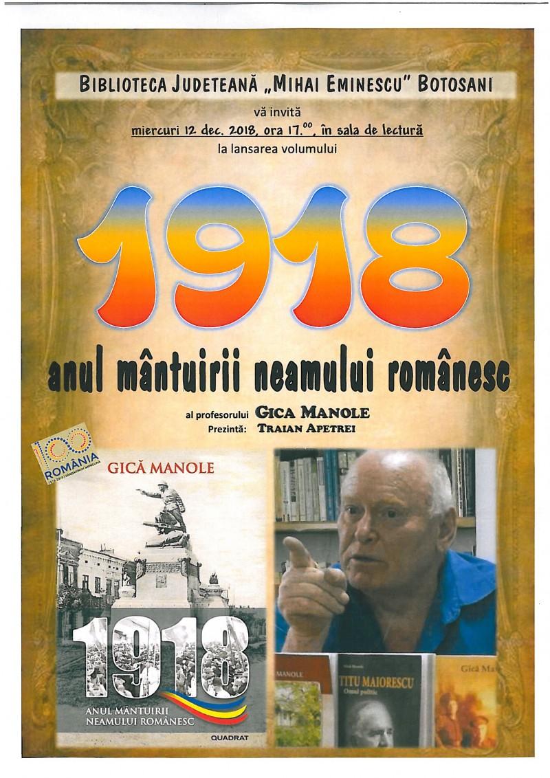 """Lansare de carte: """"1918 – anul mântuirii neamului românesc"""""""