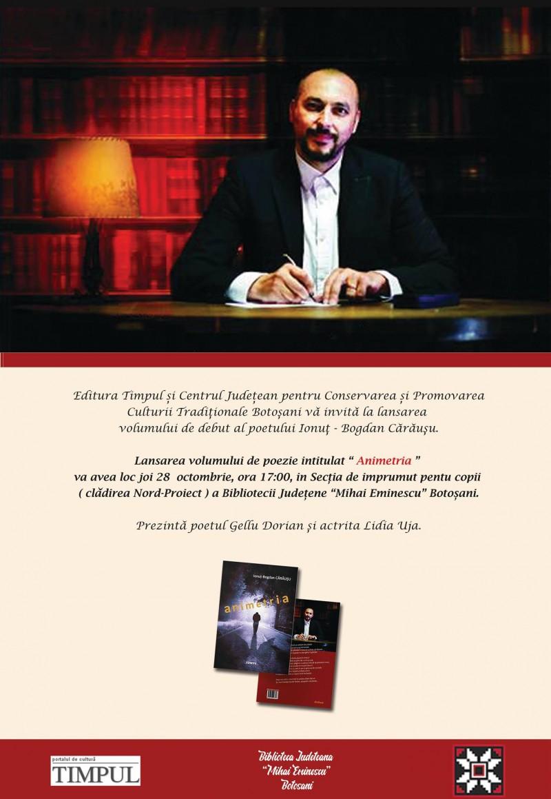 """Lansare de carte: """"Animetria"""", de Ionuț-Bogdan Cărăușu"""