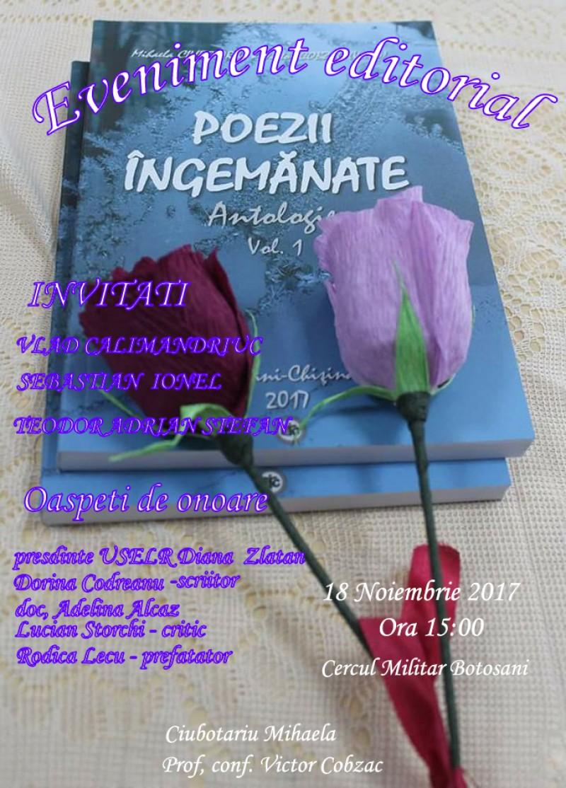 """Lansarea cărții """"Poezii Ingemanate"""", pe 18 noiembrie, la Casa Armatei Botoșani"""