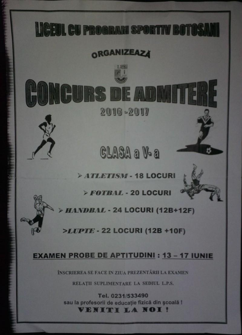 Liceul cu program Sportiv Organizeaza Concurs de Admitere