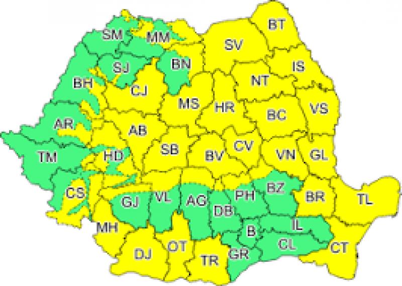 LUNI: Județul Botoșani, sub atenționare de COD GALBEN!