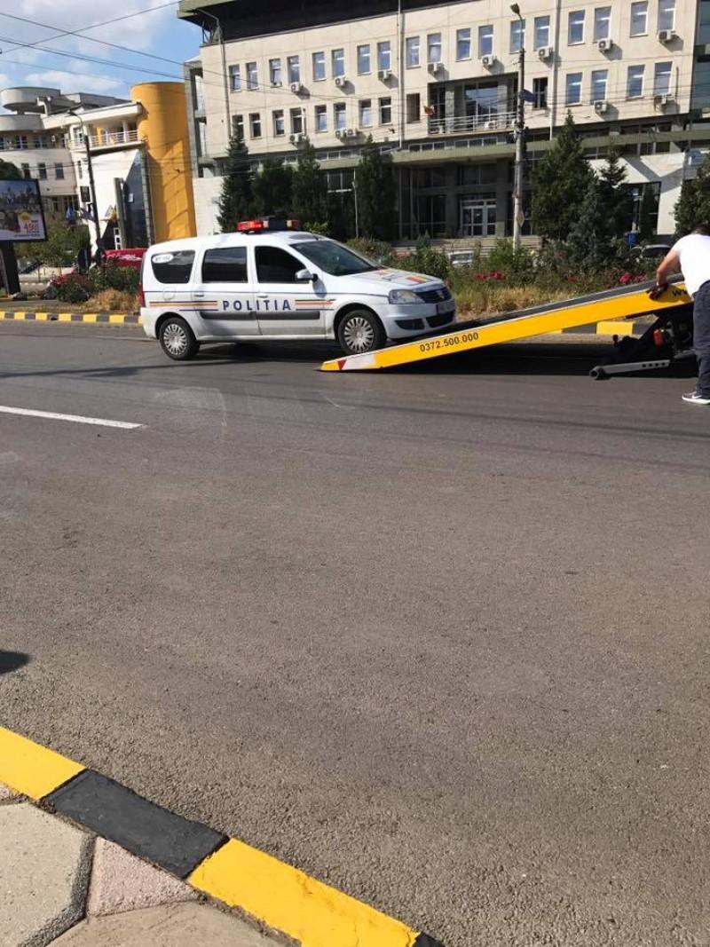 Maşină a Poliţiei, implicată într-un accident pe Calea Naţională