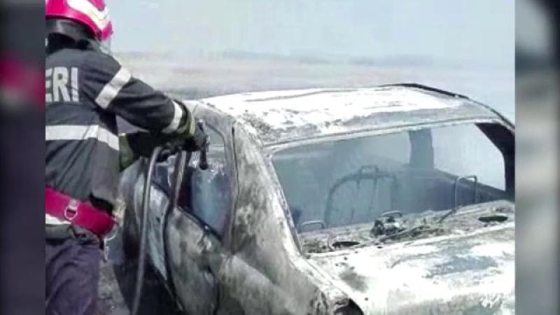 Maşină incendiată pe un câmp din apropierea localităţii Hudeşti!