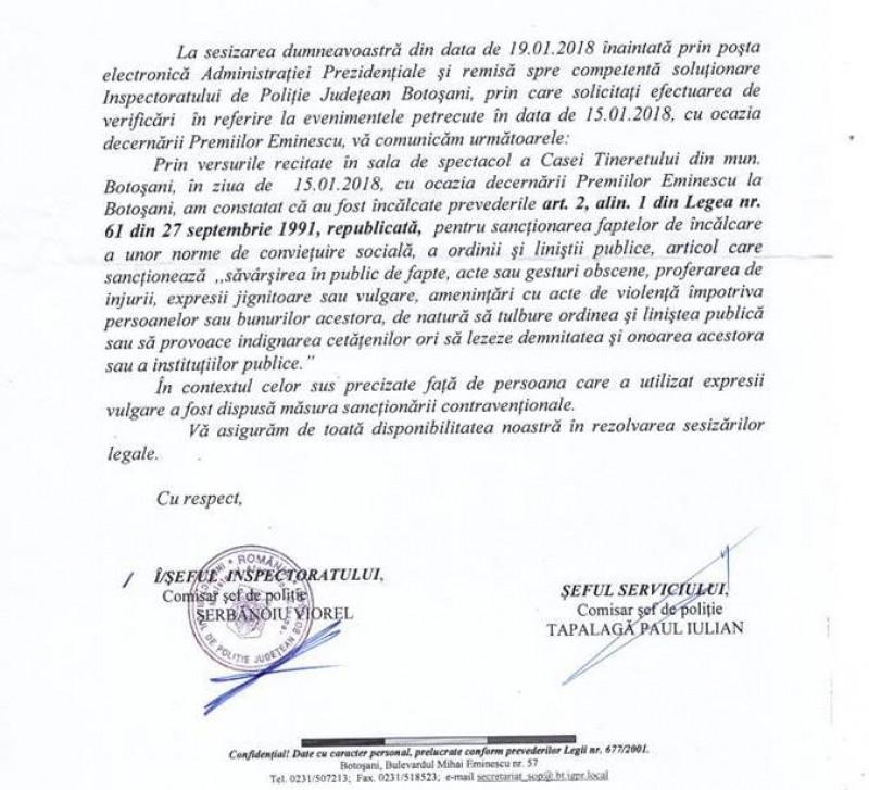 Medeea Iancu, sancționată după poemul citit pe scena de la Botoșani!