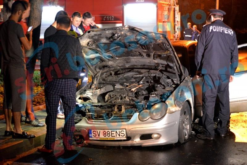Mercedes incendiat la beţie! Incendiatorul a ajuns sub control judiciar