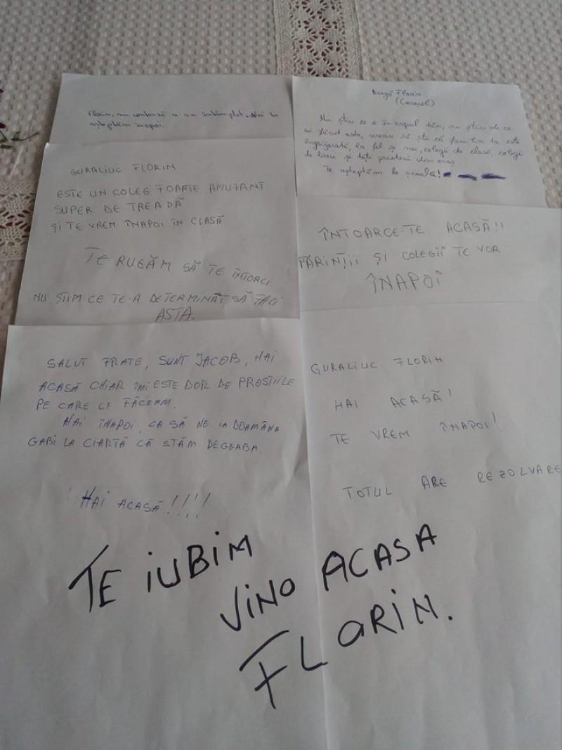 """Mesaje impresionante ale colegilor lui Florin, adolescentul din Flămânzi dispărut de cinci zile: """"Florin, te așteptăm la școală!"""""""