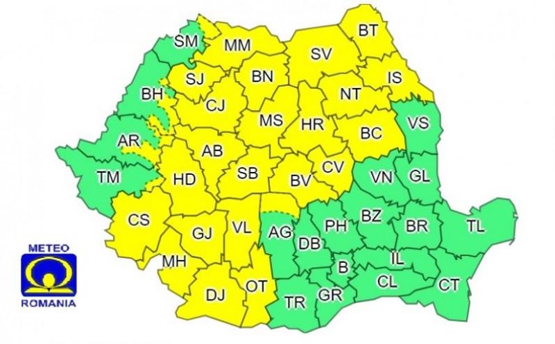 METEO ALERT: COD GALBEN de ploi în județul Botoșani până la ora 21.00!