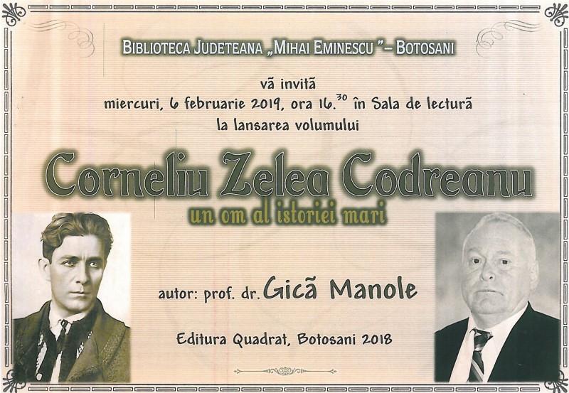 """Miercuri, la Biblioteca Județeană: Lansarea volumului """"Corneliu Zelea Codreanu - un om al istoriei mari"""""""