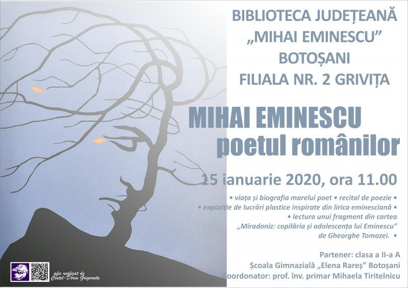 Mihai Eminescu, omagiat de către micuți învățăcei, la Biblioteca ce îi poartă numele