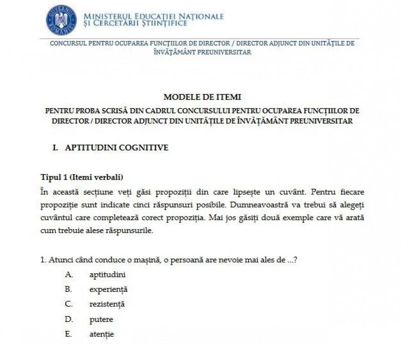 Ministerul Educatiei a publicat modele de subiecte pentru proba scrisa a concursului de directori de scoli