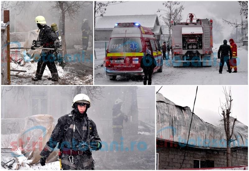 MISIUNE DIFICILA a pompierilor, la Dorobanti! Casa distrusa intr-un incendiu! Proprietarul a ajuns la spital cu arsuri! FOTO, VIDEO