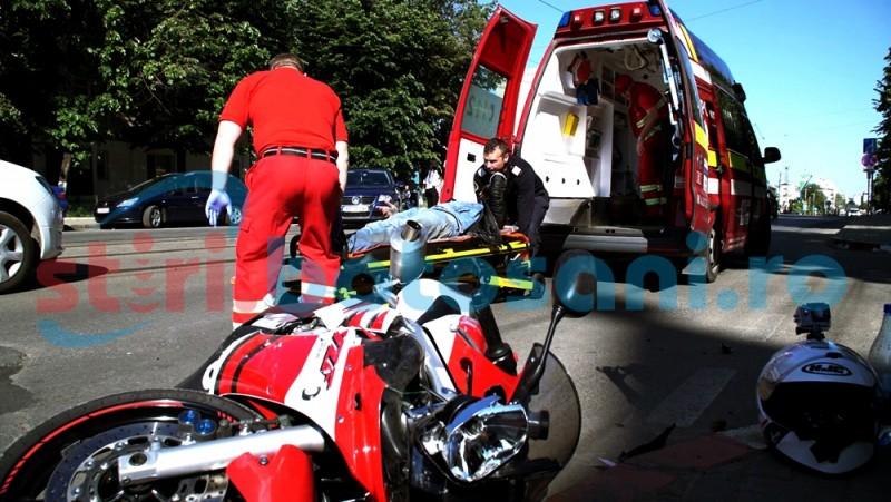 Motociclist rănit într-un accident rutier, pe Calea Naționala - FOTO