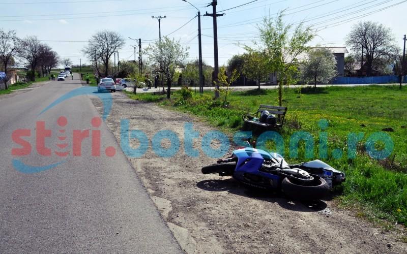 Motociclist transportat la spital, in urma unui accident rutier pe drumul Botosani - Dorohoi! FOTO